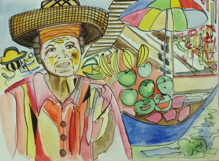 5. Mujer del floating market, Bangkok. 12:10:2014